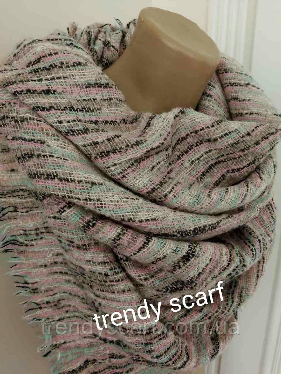Женский платок плед Букле серый розовый светло-бирюзовый коричневый черный шерсть вискоза 130/130