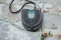 Сумка полукруглая с металлом, Кожаная сумка ручной работы