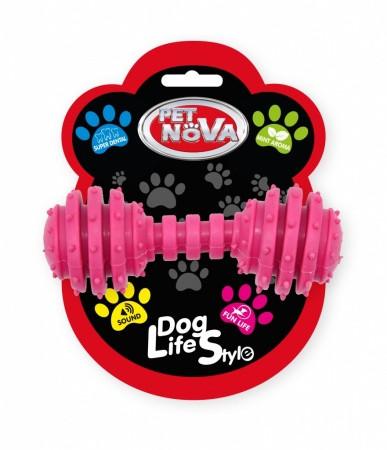 Іграшка для собак Гантель SuperDent Pet Nova 12 см рожевий
