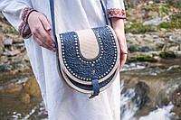 Кожаная сумка ручной работы, Сумка полукруглая с металлом