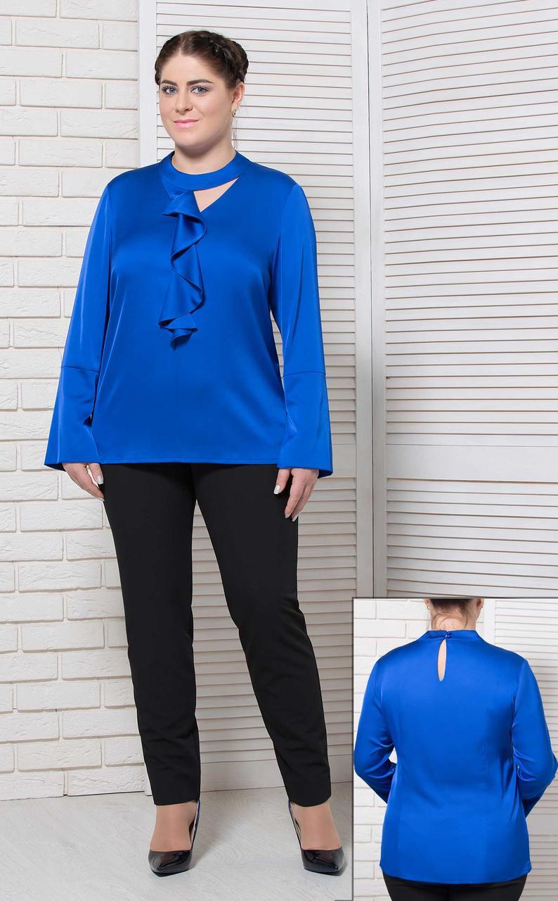 Жіноча блуза базова офісна з довгим рукавом однотонна великого розміру електрик BerdToni MKBT9127-1