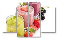 Модульная картина фруктовые коктейли