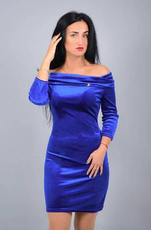 Нарядное нежное платье из велюра размеры 42,44,46,48, фото 2