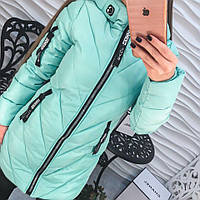 Женская удлиненная демисезонная курточка  с  молнией на рукаве и декоративными бегунками, 3 цвета, р-