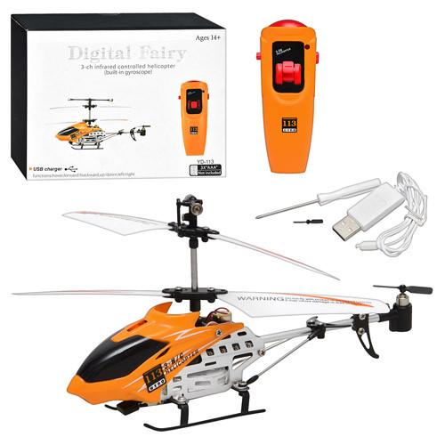 Р/У Вертолет YD 113  гироскоп, 3 канала, USB, жел, свет, в кор-ке, 24,5-18,5-7см
