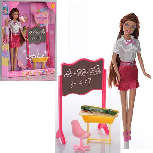 Кукла DEFA 8183  29см, школьная доска, парта, стул, карандаши 2шт, в кор-ке, 25-33-6см
