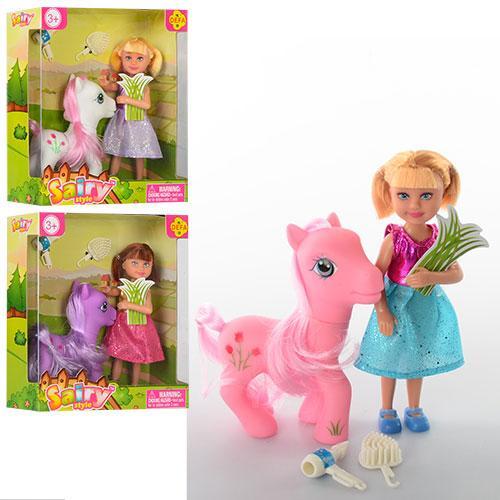 Кукла DEFA 8303  13см, лошадка 8-10-3,5см, аксессуары, 3 вида, в кор-ке, 15-16,5-6см