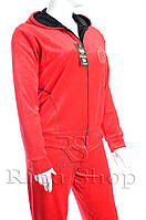 Велюровый женский  спортивный костюм яблоко K110 XL, Красный с черным