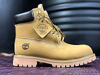 Мужские ботинки Timberland 6 Зимние с мехом (Тимберленд) желтые