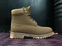 Мужские ботинки Timberland 6 (Тимберленд без меха) коричневые с камуфляжной подошвой