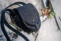 Женская кожаная сумка ручной работы полукруглая