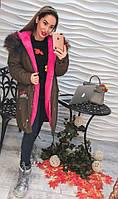 Женская парка с вышивками, на меху и с разноцветной опушкой, 2 цвета, р-р 44, 46, 48