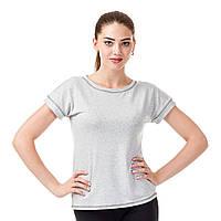 Серая трикотажная женская футболка