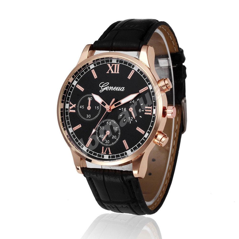 Мужские кварцевые часы Geneva Gold Black V.1
