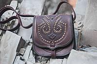 Женская кожаная сумка ручной работы с металом