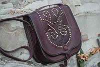 Кожаная сумка ручной работы c металом