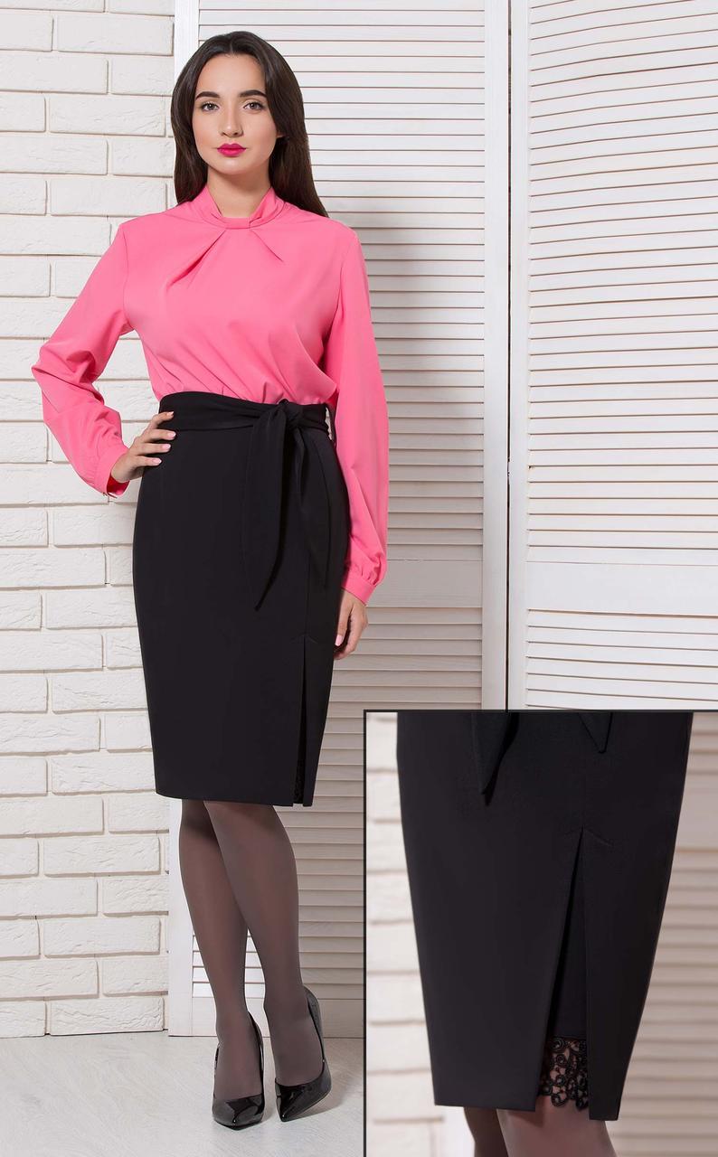Жіноча блуза базова офісна з довгим рукавом однотонна коралова на стійку BerdToni MKBT8897-2