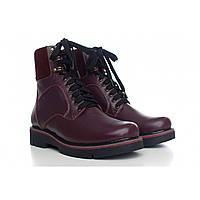 Бордовые зимние ботинки на шнуровке с языком из меха