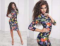 Женское платье классика яркий принт  цветы на темно-синем