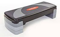 Степ-платформа (пластик, покрытие TPR, р-р 78Lx29Wx10H+5+5 см, черный)