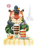 """Почтовая открытка """"Полосатый кофеек"""", фото 1"""