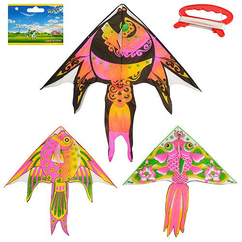 Воздушный змей M 2602  137см, длина 130см, рыбка, 3 вида, в кульке, 8,5-90-2см