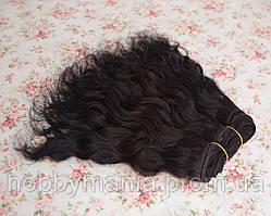 Кукольные трессы из козы, Черные, волнистые, 1м