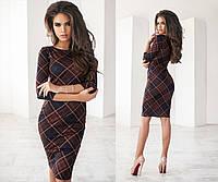 Женское платье классика яркий принт  клетка коричневый
