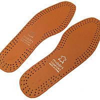 Стельки для обуви кожаные, коричневые, р.47