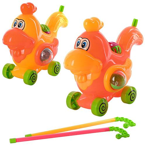 Каталка 8501-154  на палке, петушок, 2 цвета, в кульке, 21-20-12см