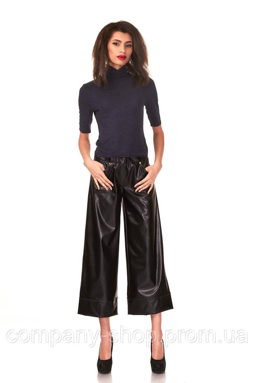 Купить кожаные укороченные брюки. Модель КЮЛ005_черный кожа.
