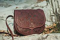 Кожаная женская сумка, бордовая сумочка, сумка через плечо, фото 1