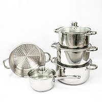 1002187 Набор кастрюль Giakoma G-5832, набор кастрюль, 1002187, набор посуды, наборы посуды, кастрюли набор, посуда набор, хороший набор кастрюль,