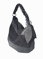Мягкая сумка-мешок серая кожа