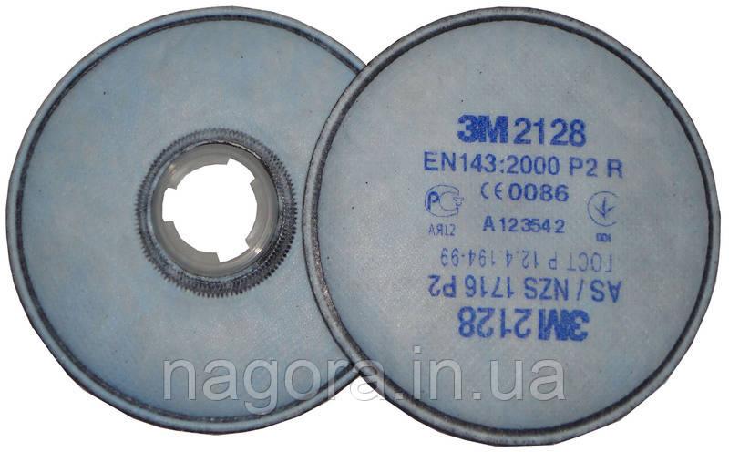 3M 2128 Противоаэрозольный фильтр от твердых и жидких частиц для респираторов серии 6000 / 7500, Р2