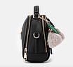 Сумка женская с ручкой через плечо Stylish bag с помпоном Черная, фото 3