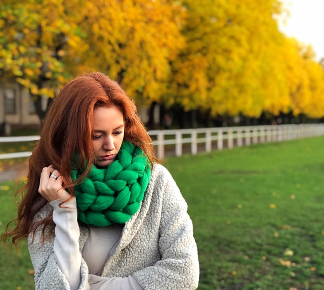 шарф из толстой пряжи