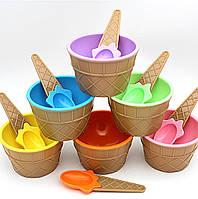 ТОП ВЫБОР! Мороженица с ложечкой Happy Ice Cream, тарелка для мороженого (цвета в ассортименте), 1002098, таре