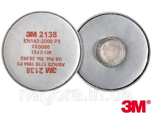 3M 2138 Противоаэрозольный фильтр с доп.защитой от органических газов для респираторов серии 6000 /7500, Р3