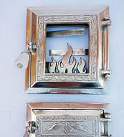 Печная дверка «Огонь раздельный никель»