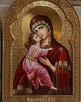 Икона писаная маслом Владимирская Пресвятая Богородица