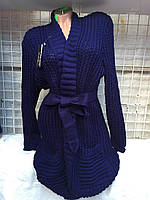 Кардиган женский полубатальный с поясом, размер 50-56 (3 цвета) купить оптом в Одессе на 7км, фото 1