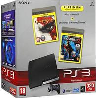 Игровая приставка Sony PlayStation 3 Slim (320 Gb) +2 игры GOW3 RUS + Uncharted 2 RUS (PS3)