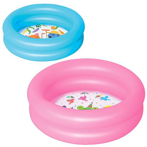 BW Бассейн 51061  детский круглый,2 кольца,рем запл,21л,2 цвета,61-15см, в кульке,26,5-15,5см