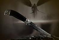 """Авторский нож ручной работы """"Сокол"""", мозаичный дамасск, белый металл (наличие уточняйте)"""