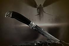"""Авторский коллекционный нож """"Сокол"""", мозаичный дамасск, белый металл (наличие уточняйте)"""