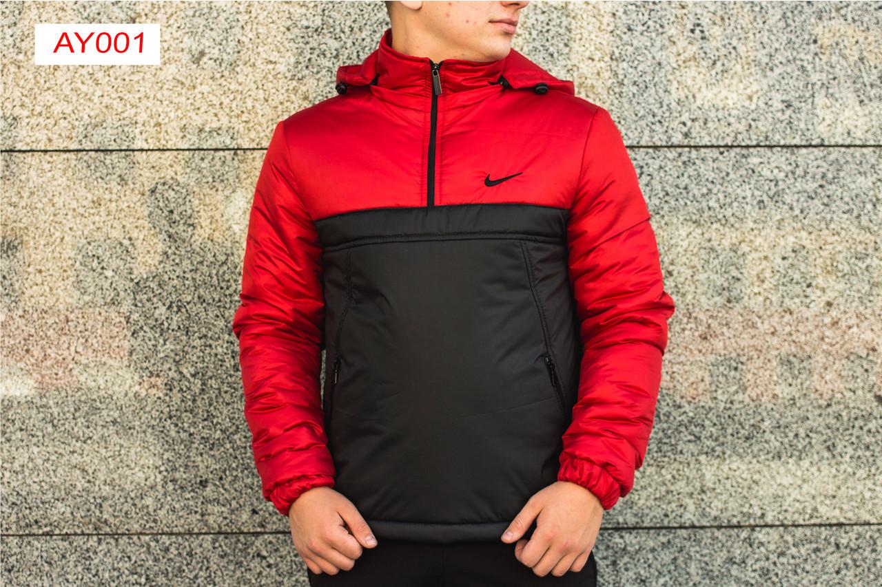 Утепленная куртка анорак Intruder с капюшоном - черный низ, красный верх. Код: АУ001/440