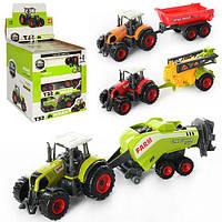 Трактор SQ90222-2  металл,9,5см,с прицепом11см,в кор27-12-6см,12штв дисплее,28-27-28см
