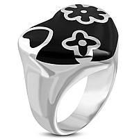 Кольцо из стали с эмалью «Чёрное сердце», в наличии 16.5,17.3, фото 1