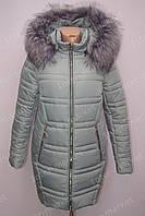 Модная и очень теплая зимняя женская куртка пальто с меховым воротником